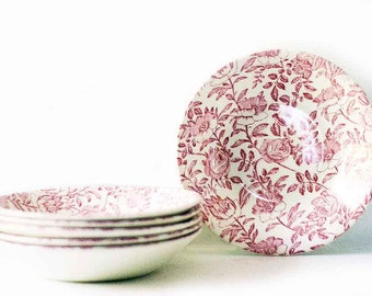 Pink Peony Soup Bowls | Vintage | Churchill | Set of Six | Red Rose | Transferware | Ceramic