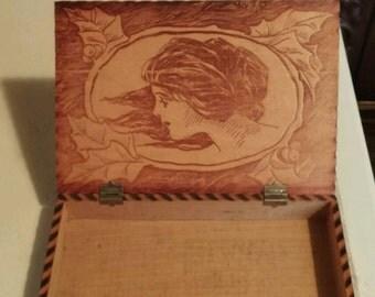 Vintage wooden treasure box
