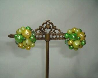 1950s Yellow and Green Beaded Earrings.