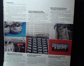 Vintage IBM Selectric Electric Typewriter Ad.