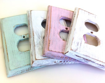 Wood Painted Double Outlet Covers, Repainted Vintage, Pastel Colors, Pink Mint White, Choose Your Color, 4.50 EACH