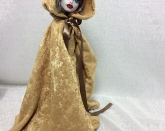 Golden Velvet Cape Fashion Designed for Your Monster High Doll