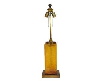 Mid-Century Modern Orange Fractal Resin Lamp Hollywood Regency