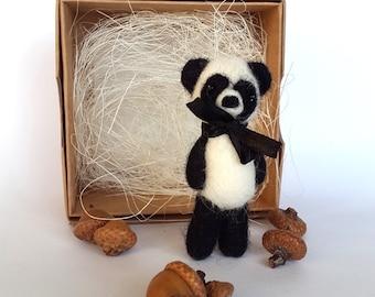 Felted Panda,Bear Brooch,Panda Bear,Tiny Panda,Forest Animal,Panda Sculpture,Kung Fu Panda,China animal