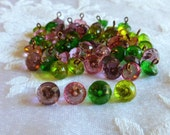 Antique Vintage Czech's Buttons, Diminutive,  Tiny,  Faceted Glass Buttons, Green, Lime, Pink and Purple, 1930's, Glass Buttons, 5 in Lot