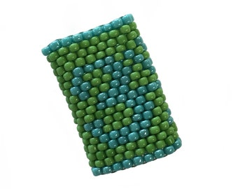 Om Dreadlock Bead - Sleeve For Medium Dreads in Turquoise and Green - Ring size 2