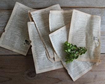 Aged Vintage Dictionary Papers // Paper Ephemera // Vintage Paper