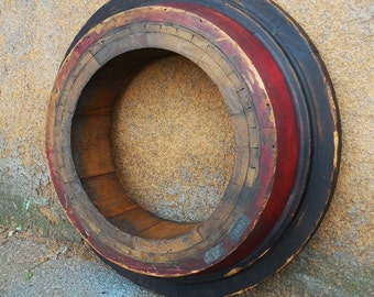 Antique wood Foundry Mold  24 inch round Architectural salvage Frame 24 inch Industrial Rustic Nautical  Repurpose supplies Red black