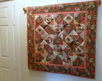 "Pink scrap ""Gone Crazy ""quilt wallhanging or table topper"