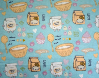 Flannel pajama lounge pants pajama dorm made to order your choice size XS - 2X Happy Baking Companions LIGHT print on a LIGHT background
