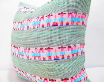 Tribal pillow cover 18x18, White Pillow sham, Colorful Pillow Covers, Bohemian Decor, Boho Bedding, Mexican Cushion, Square, tribal