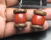 Red Resin and Wood Beaded Earrings