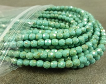 Turquoise Travertine Luster Czech Glass Firepolish Beads 4mm Faceted Glass 50pc