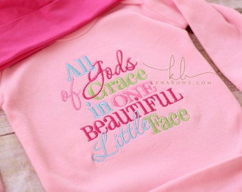 New Baby Girl Gown: All of Gods Grace in One Beautiful Little Face, Pink Infant Gown, Newborn Shower Gift, Hot Pink Personalized Beanie Hat