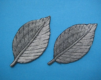 Sale~ 2 pcs Iron-on embroidered Patch Leaf (grey) 2.5 inch