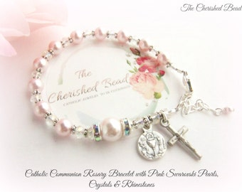 Lovely Soft Pink Pearl Catholic Communion Rosary Bracelet with Crystals and Rhinestones