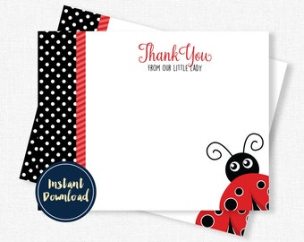 Ladybug Thank You Card, Red and Black Thank You, Birthday Thank You, Blank Thank You, Red Ladybug Printable INSTANT DOWNLOAD