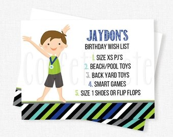 Gymnastics Birthday Wish List Inserts, Birthday Gift List Cards, Invitation Wish List Inserts, Boy Gymnastics Printable