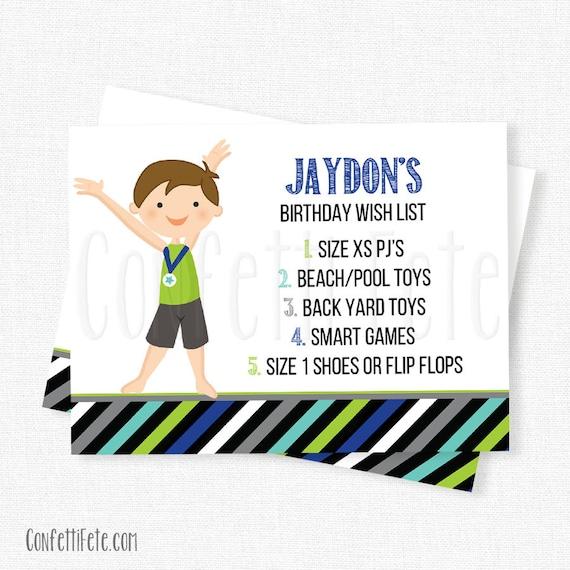 Gymnastics Birthday Wish List Inserts Birthday Gift List