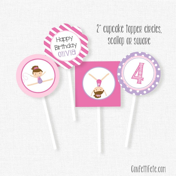 Gymnastics Cupcake Toppers, Gymnastics Party Decorations, Printable Birthday Cupcake Toppers,