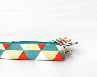 Pencil Case, Green White Orange Triangle Print, Pencil Pouch, Small Cosmetic Pouch, Knitting Needle Case