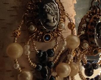 upcycled vintage cameo chandelier earrings~dangle and drop earrings~mixed media pearl earrings