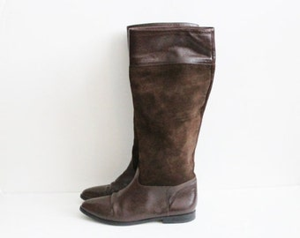 CIJ 40% off sale // Vintage 80s Riding Boots by Nina - Brown 2 Tone Leather - Women 7B