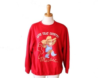 CIJ 40% off sale // Vintage 80s Red Novelty Sweatshirt Women Large - Teddy Bears Cowboy - Love That Country Music