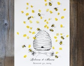 Wedding Guest Book Alternative, thumbprint guest book, Unique Baby Shower Guestbook, Honey Bee Hive with thumbprint bees (with 1 ink pad)