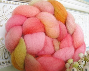wool hand dyed roving top braid for hand spinning felting crafting USA wool Changing leaves peach orange gold