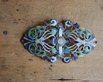 Antique 1910s Edwardian enamel sash buckle ∙ bridal sash ornament buckle