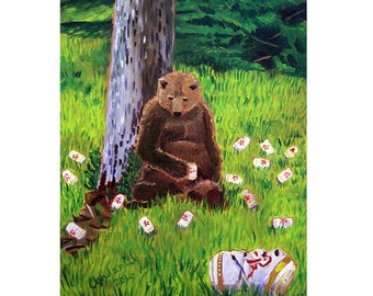 Rainier Beer Painting, Brown Bear Painting, Washington Beer Art, Retirement Beer Gift, Man Cave Beer Poster, Animals Drinking Beer, Bar Art