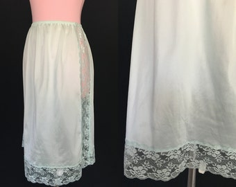 Vintage Mint Half Slip Slip - Mint Skirt with Lace