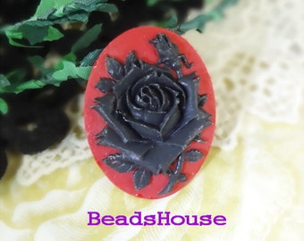 90-00-CM  2pcs( 30x40mm) Pretty Rose Oval Cameo -Black on Red