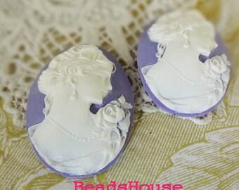53-00-CM 2pcs  Portrait Oval Cameo Pendant  (30 x 40mm) - White on Purple