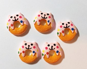 Cat Donut Magnets, set of four, super strong, locker decoration, fridge magnets