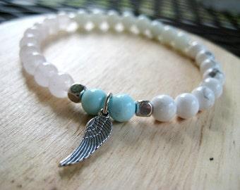 Multi Stone Stretch Bracelet with Angel Wing