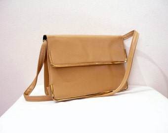 Vintage 1950s Handbag Clutch Camel Tan Gold Tone Trim Markay Shoulder Bag