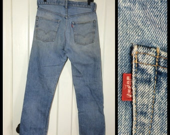 Single stitch faded Levi's 505 great patina 31X30 Straight Leg Blue Jeans 1970's made in USA 31 inch Waist Boyfriend distressed paint #1254