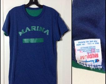 Vintage 1980's Champion brand Reversible Double Marina School Gym T-shirt size Medium 19.5x27 Blue Green