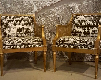 Pair of chairs Hollywood Regency MCM vintage antique caning gold black off white greek key design