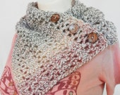 Neck Warmer Scarf crochet Coconut button Cowl warm primary colors Ready to Ship