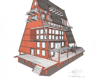 The A-Frame House // Original Screenprint