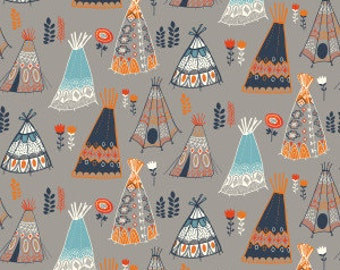 1 Yard Organic KNIT Fabric - Birch Wildland Knits - Teepees Shroom Knit