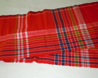 Vintage Red plaid Cashmere Scarf made in Scotland