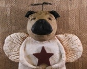 Pug Dog Angel, OOAK, hand-sculpted papier mache, Pug Angel Mache