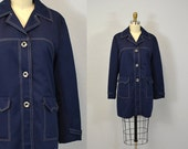 Lightweight jacket NAVY topper 1960s spring coat nautical indie hipster casual blue IngridIceland 70s Large L extra  XL