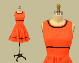Halloween party dress orange pumpkin Full Skirt 1950s neon evening gown petticoat IngridIceland
