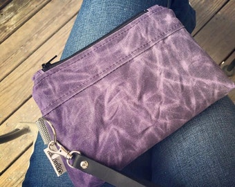 Wristlet, Hand-Waxed Canvas, Purse, Pouch