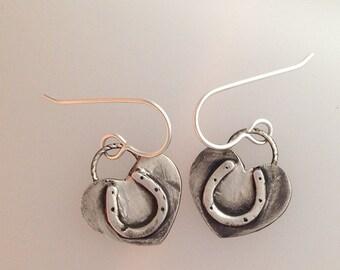 Heart Horseshoe fine silver earrings, cowgirl jewelry, horse lover jewelry, horse and rider jewelry